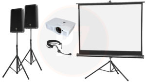 Presentatie set speakers microfoon headset beamer scherm