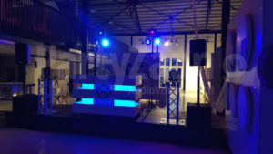 PartyZaan Daybreaker event podium speakers DJ booth