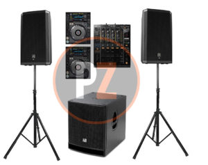 Speakers dj set sub woofer huren